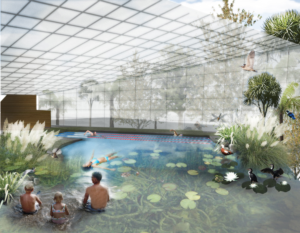 Ecologies lab he puna waipapaora the glasshouse pools - Public swimming pool design ...